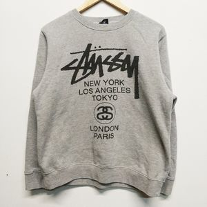 Stüssy Heather Gray Double-Sided Crewneck M